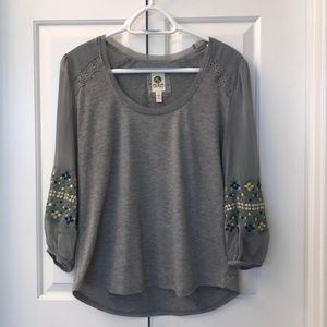 Anthro Grey Top Sheer, Embroidered Sleeves CURRENT